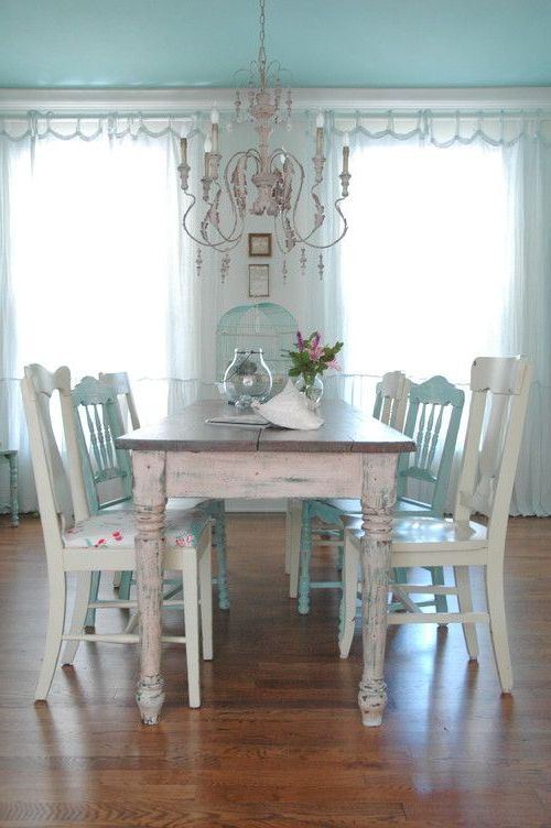 Shabby Chic Dining Chairs Intended For 2018 26 Ways To Create A Shabby Chic Dining Room Or Area – Shelterness (Gallery 19 of 20)