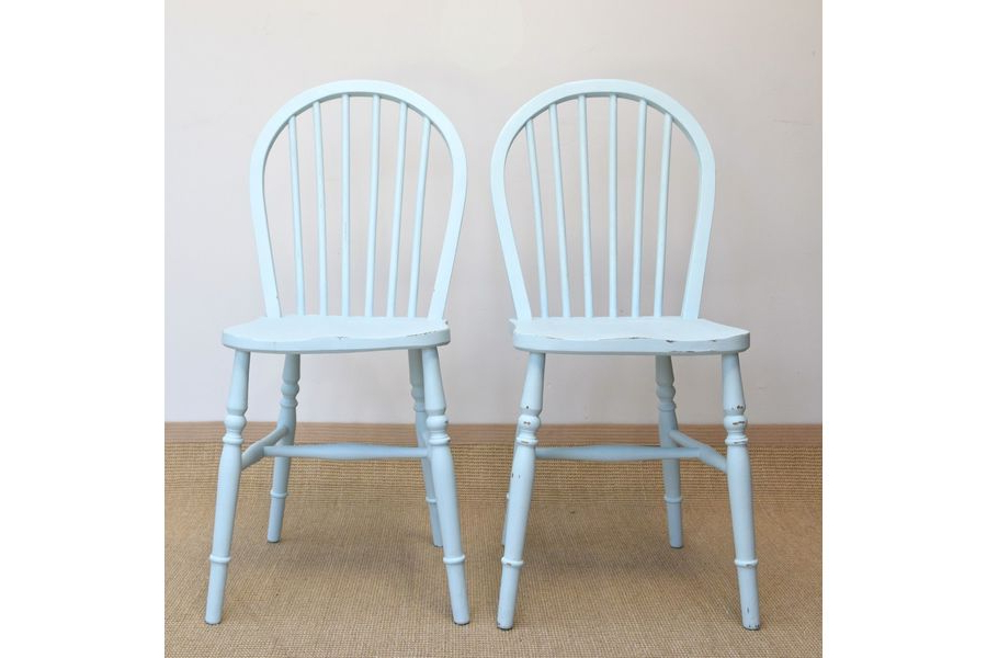 Shabby Chic Dining Chairs With Newest Pair Of Shabby Chic Vintage Stick Back Kitchen Chairs, 2 Duck Egg (View 19 of 20)