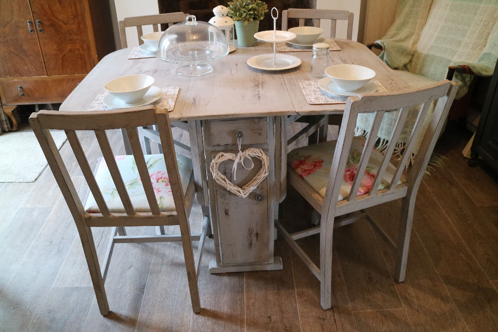 Shabby Chic Dining Sets Within Fashionable Shabby Chic Dining Table And 4 Chairs, French Country Style Grey (Gallery 4 of 20)