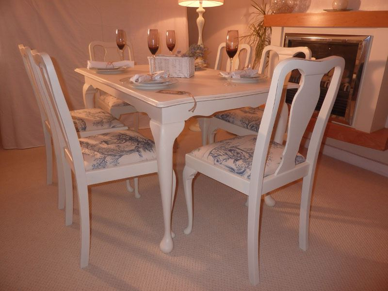Shabby Chic Extendable Dining Table With 6 Chairs Painted Vintage Throughout Widely Used Shabby Chic Extendable Dining Tables (View 10 of 20)