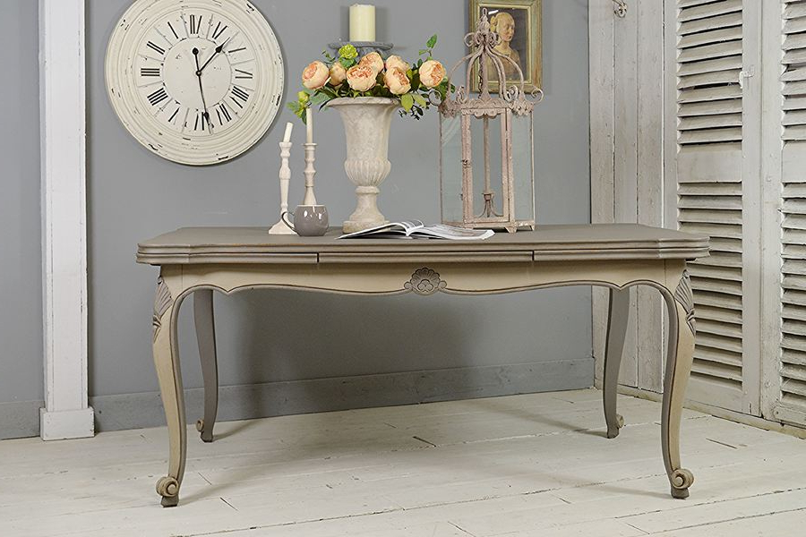 Shabby Chic Extendable Dining Tables Intended For Trendy Vintage French Shabby Chic Extending Dining Table (grey) (View 12 of 20)