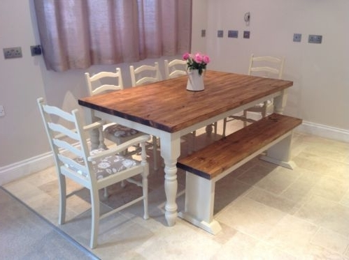 Shabby Chic Rustic Farmhouse Solid 8 Seater Dining Table Bench And 6 Throughout Newest 8 Seater Oak Dining Tables (View 17 of 20)