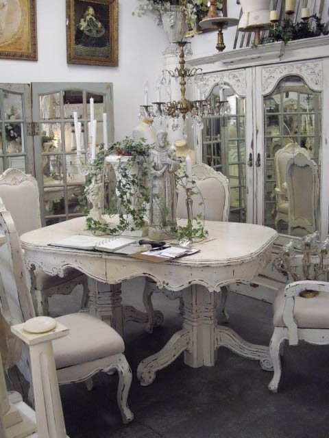 Shabby Chic Table, Chairs, Cabinet (View 13 of 20)