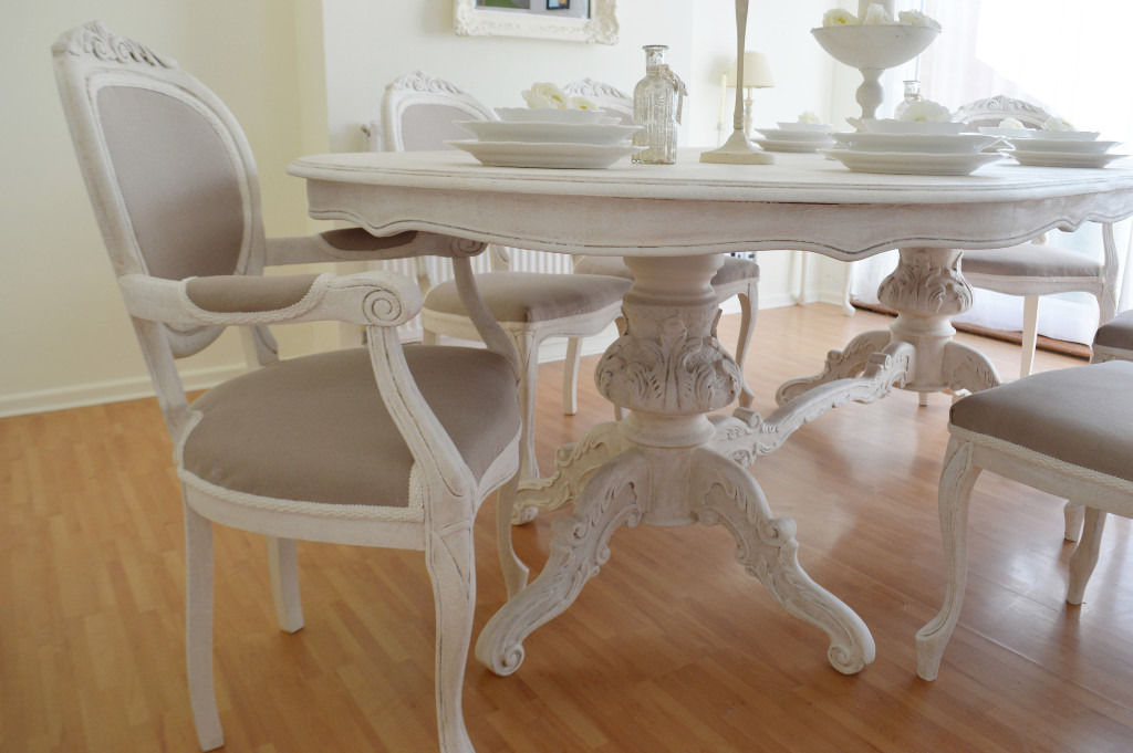 Shabby Dining Tables And Chairs With Regard To Most Recent Summer Deal !!! *** Antique Shabby Chic Dining Table & Six Chairs (View 8 of 20)