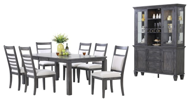 Shades Of Gray 9 Piece Dining Set With China Cabinet – Transitional Throughout Popular Walden 9 Piece Extension Dining Sets (View 13 of 20)