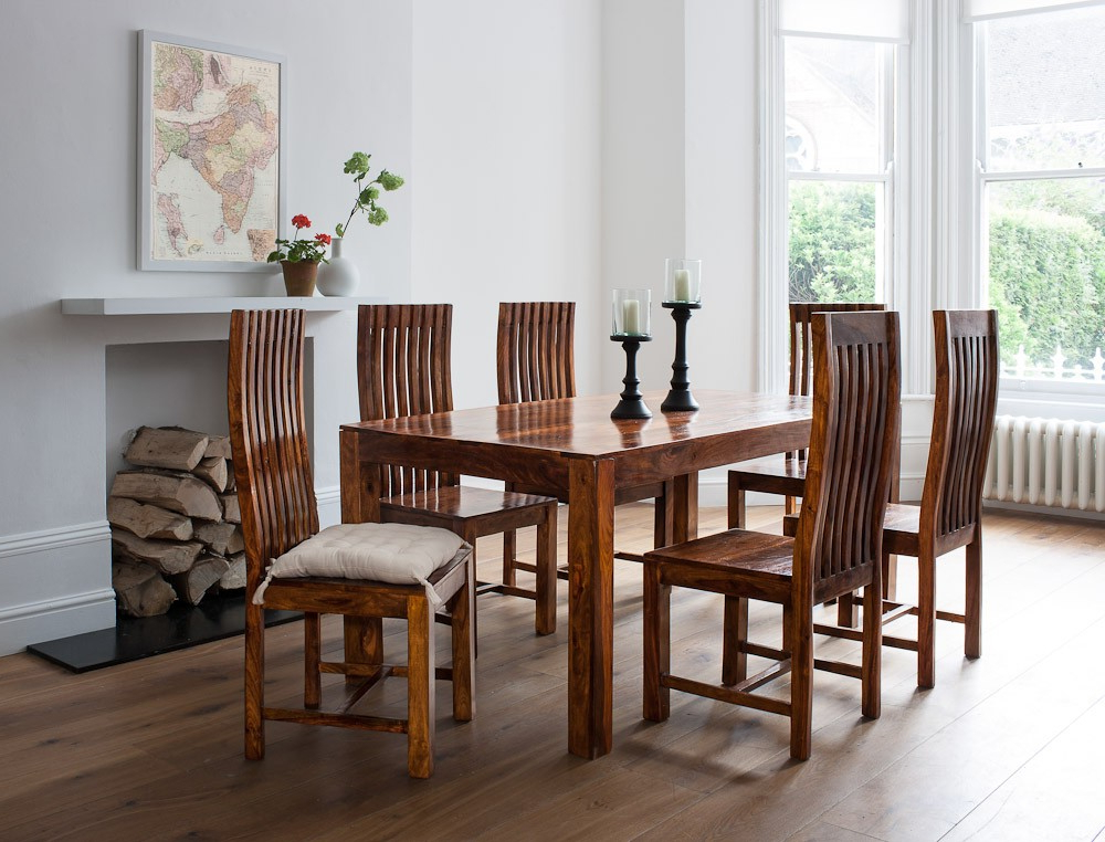 Sheesham Dining Chairs Pertaining To Most Recently Released Mandir Sheesham Dining Table (View 4 of 20)