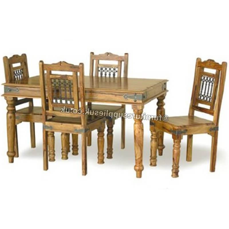 Sheesham Dining Tables And 4 Chairs Intended For Fashionable Jali Dining Table 4 Chairs 135cm (View 2 of 20)