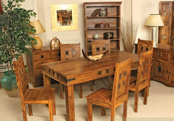 Sheesham Dining Tables And 4 Chairs Regarding Most Recently Released Natural Living Furniture  Wooden Sheesham Hardwood Rosewood (Gallery 9 of 20)