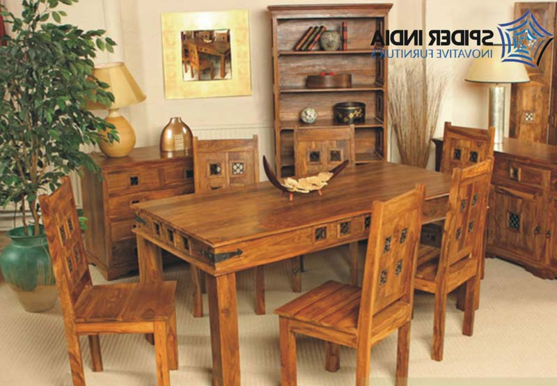 Sheesham Dining Tables And Chairs For Well Known Wooden Dining Table Set,sheesham Wood Dining Table Set Exporter (Gallery 4 of 20)
