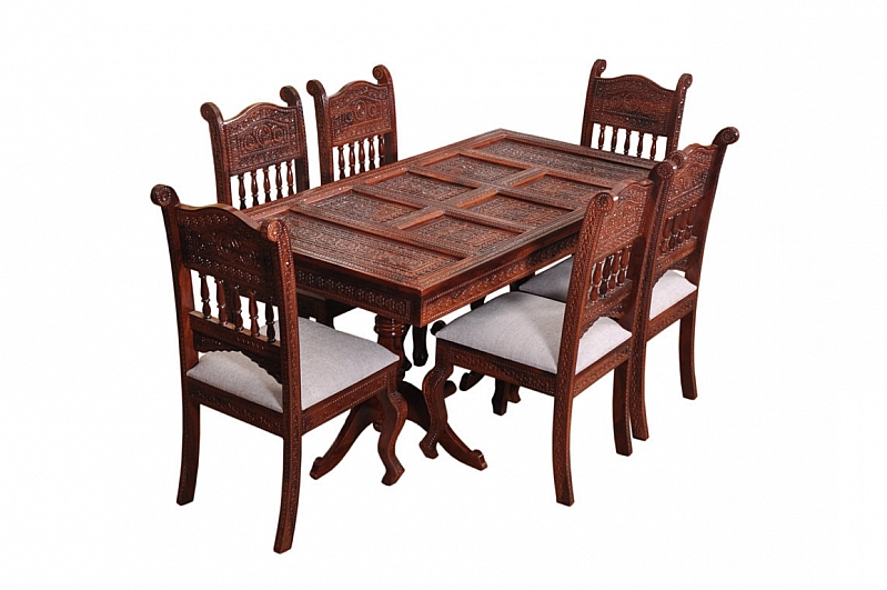 Sheesham Dining Tables And Chairs In Recent Royal Sheesham Wood Dining Table Set Fusion Of Rich Victorian Amp (View 16 of 20)