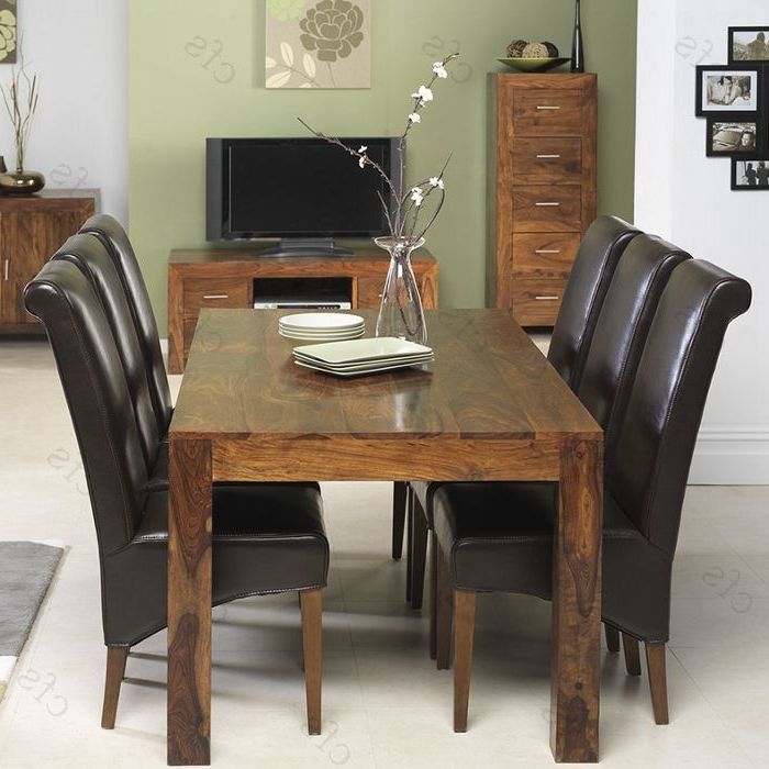 Sheesham Dining Tables And Chairs Intended For Most Up To Date Kuba Sheesham Large Dining Set With 6 Brown Leather Chairs (Gallery 12 of 20)