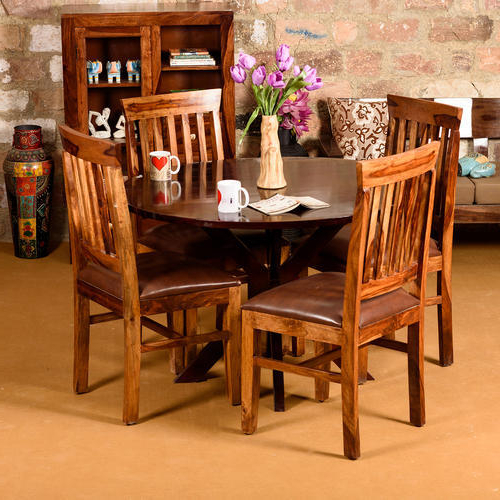Sheesham Dining Tables In Trendy 105 Standard Induscraft Between The Lines Sheesham Dining Table, Rs (View 5 of 20)