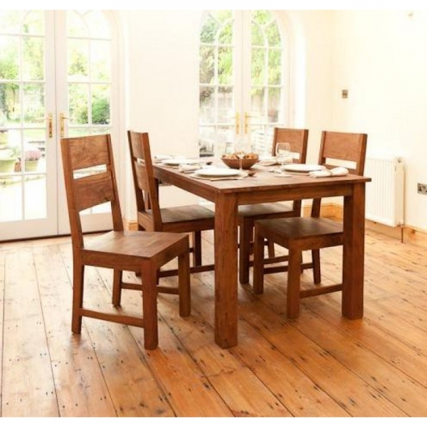 Sheesham Wood 4 Seater Dining Set – Sublime Exports In Well Liked Sheesham Dining Tables And 4 Chairs (View 14 of 20)