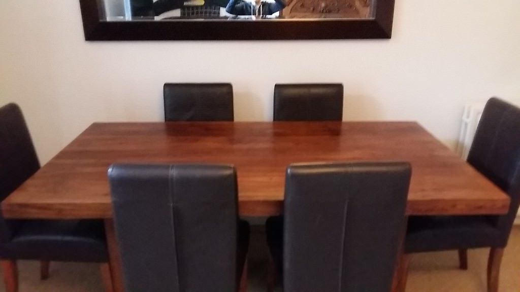 Sheesham Wood Dining Chairs For Trendy Immaculate Solid Sheesham Wood Dining Table And Six Matching Leather (Gallery 16 of 20)