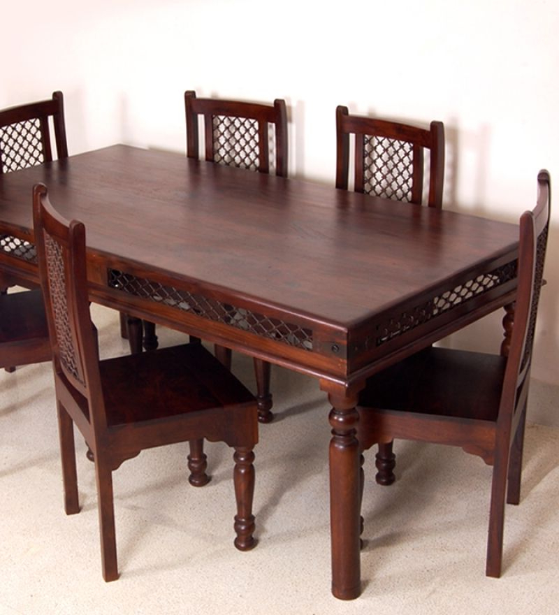 Sheesham Wood Dining Tables Inside Favorite Sheesham Wood Dining Set (With Set Of Six Chairs) (Gallery 12 of 20)