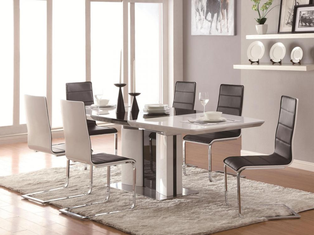 Shiny White Dining Tables For Well Known Gloria 5 Pieces Modern White Rectangular Dining Room Furniture Table (View 12 of 20)