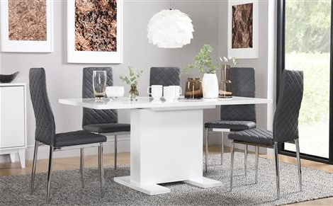 Shiny White Dining Tables In Well Known High Gloss Dining Table & Chairs – High Gloss Dining Sets (View 13 of 20)