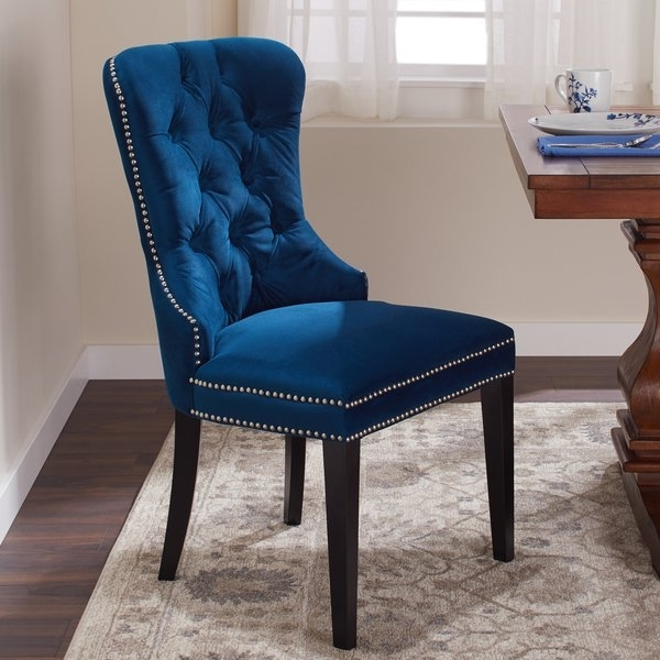 Shop Abbyson Versailles Blue Tufted Dining Chair – On Sale – Free Pertaining To Newest Pilo Blue Side Chairs (View 5 of 20)