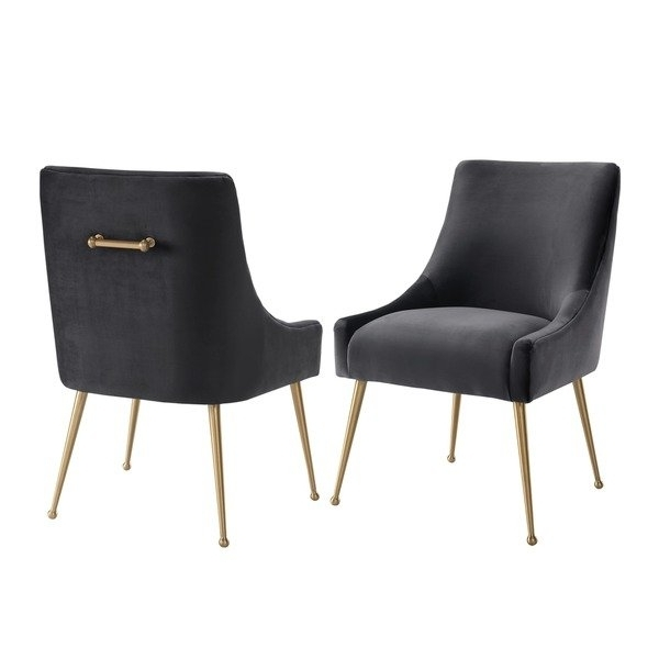 Shop Beatrix Grey Velvet Side Chair – Free Shipping Today Intended For Famous Pilo Blue Side Chairs (View 4 of 20)