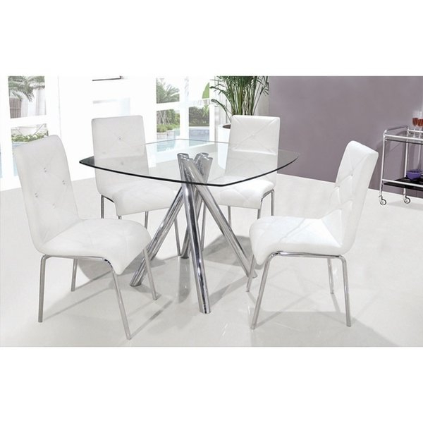 Shop Best Master Furniture 5 Pcs Square Glass Dinette Set – Free Within Preferred Harper 5 Piece Counter Sets (View 15 of 20)