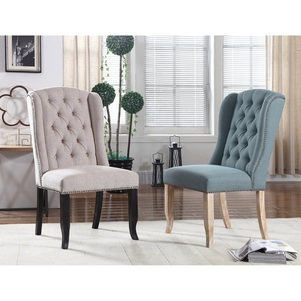 Shop Best Master Furniture Upholstered Wingback Side Chairs (set Of With Most Up To Date Caira Black 7 Piece Dining Sets With Upholstered Side Chairs (View 20 of 20)