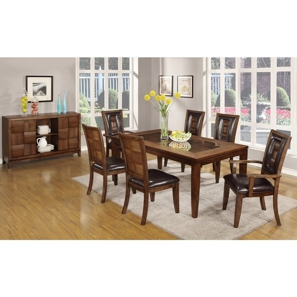 Shop Calais 7 Piece Parquet Finish Solid Wood Dining Table With 6 Intended For Fashionable Parquet Dining Chairs (View 18 of 20)