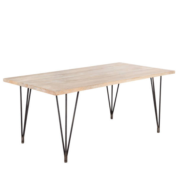 Shop Cg Sparks Handmade Industrial Hairpin Blanched Mango Wood 70 Pertaining To Well Known Mango Wood/iron Dining Tables (View 15 of 20)