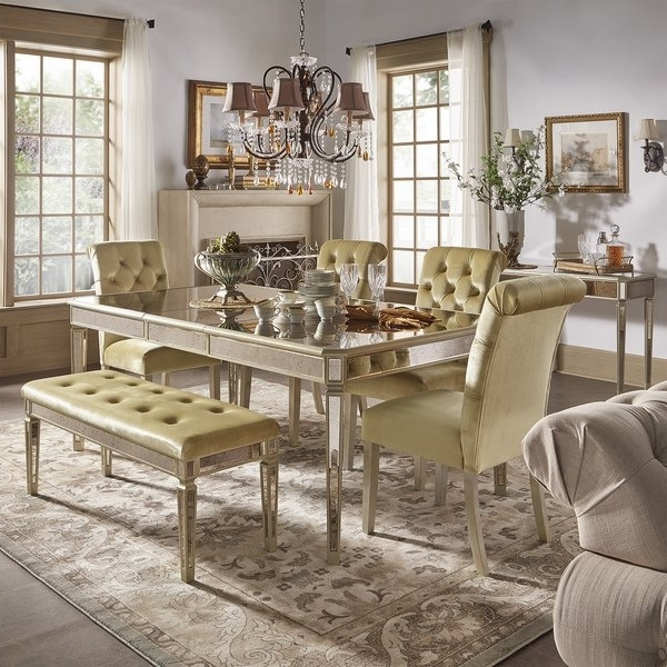 Shop Clara Gold Velvet And Antique Gold Mirrored Dining Set Pertaining To Current Antique Mirror Dining Tables (View 17 of 20)