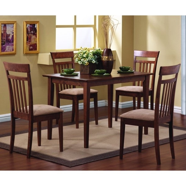 Shop Copper Grove Crychan Warm Walnut 5 Piece Dining Set – Free Throughout Most Popular Caden 5 Piece Round Dining Sets With Upholstered Side Chairs (View 18 of 20)