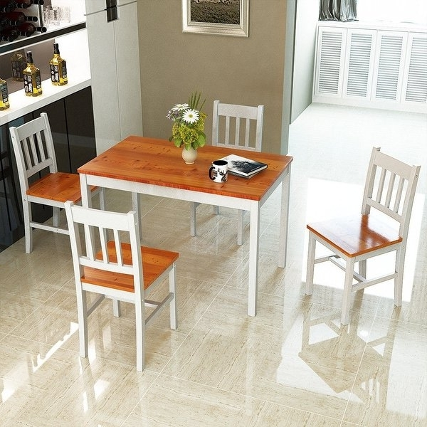 Shop Costway 5pcs Pine Wood Dinette Dining Set Table And 4 Chairs For 2017 Pine Wood White Dining Chairs (View 7 of 20)