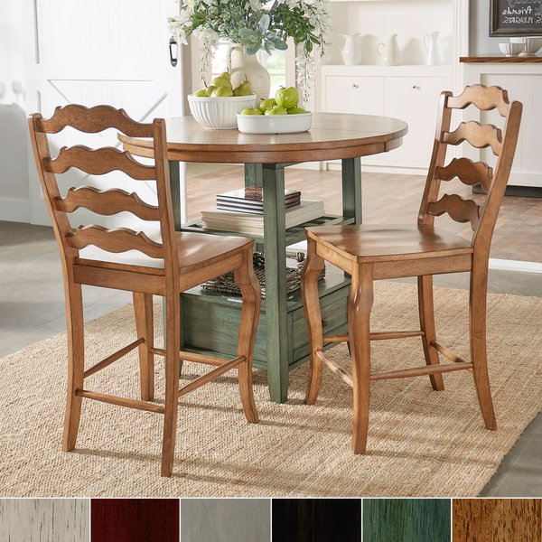 Shop Eleanor French Ladder Back Wood Counter Chair (set Of 2) In Latest Harper 5 Piece Counter Sets (View 17 of 20)