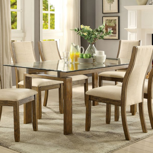 Shop Furniture Of America Lenea Contemporary Glass Top Oak Dining Intended For Well Known Glass Top Oak Dining Tables (View 18 of 20)