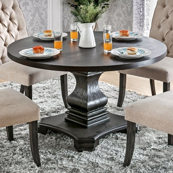 Shop Furniture Of America Lucena Antique Black Wood Traditional Pertaining To Trendy Black Wood Dining Tables Sets (View 17 of 20)