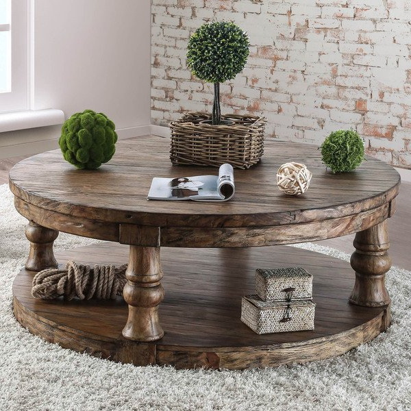 Shop Furniture Of America Patterson Rustic Round Coffee Table – On Throughout Most Up To Date Patterson 6 Piece Dining Sets (View 13 of 20)