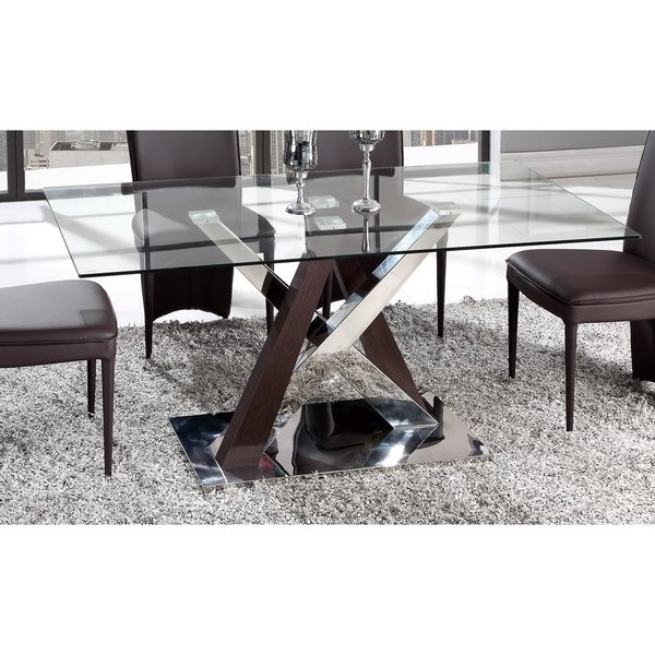 Shop Global Furniture Wenge Mdf, Chrome, And Glass Dining Table Inside 2017 Chrome Glass Dining Tables (View 17 of 20)