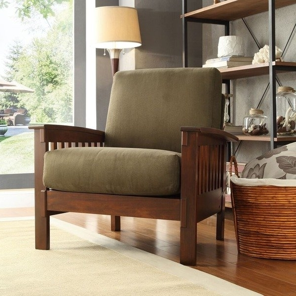 Shop Hills Mission Style Oak Accent Chairinspire Q Classic For Favorite Craftsman Upholstered Side Chairs (View 16 of 20)