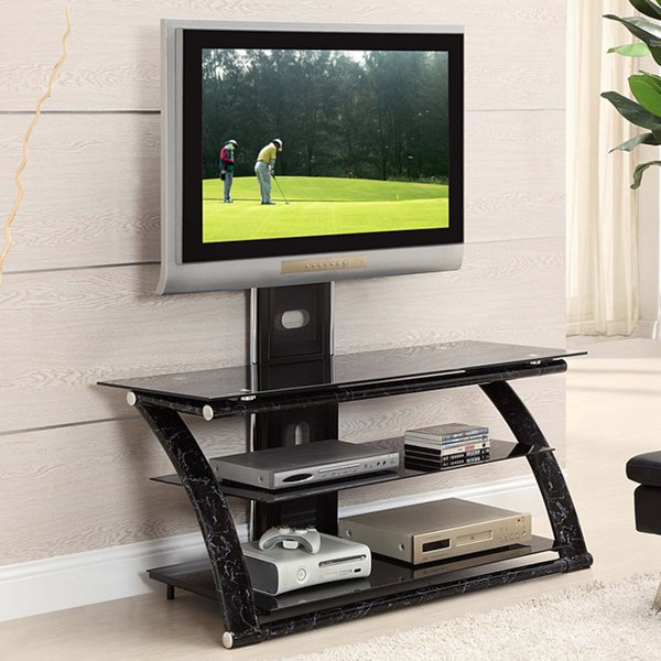 Shop Innovex Glass/ Metal 3 In 1 60 Inch Tv Stand With Mount – Free Regarding 2017 Ina Matte Black 60 Inch Counter Tables With Frosted Glass (View 14 of 20)