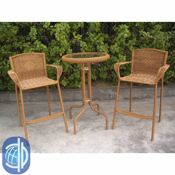 Shop International Caravan Resin Wicker Outdoor 3 Piece Bar Height For Current Valencia 3 Piece Counter Sets With Bench (View 9 of 20)