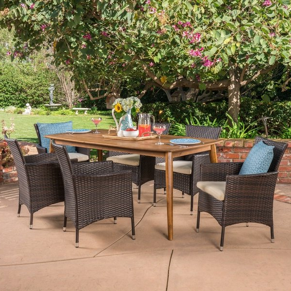 Shop Jaxon Outdoor 7 Piece Multibrown Pe Wicker Dining Set With Within Well Known Jaxon Grey 5 Piece Round Extension Dining Sets With Upholstered Chairs (View 17 of 20)