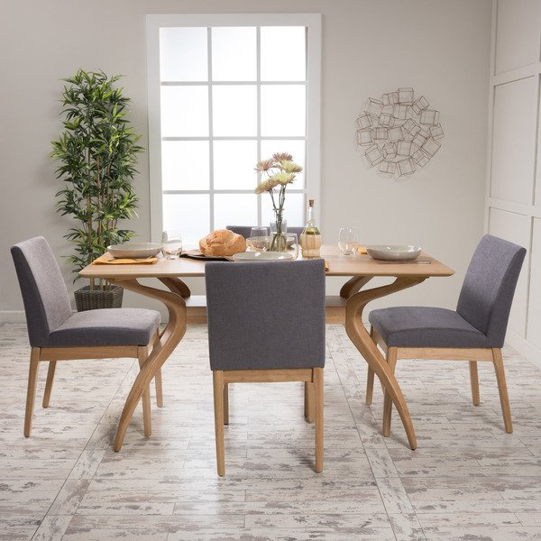 Shop Kwame Mid Century 5 Piece Rectangle Dining Setchristopher In Most Recent Laurent 5 Piece Round Dining Sets With Wood Chairs (View 3 of 20)