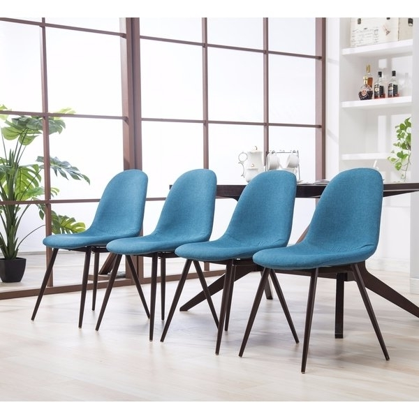 Shop Lassan Modern Contemporary Blue Fabric Dining Chairs, Set Of 4 With Regard To Well Liked Caden 7 Piece Dining Sets With Upholstered Side Chair (View 18 of 20)