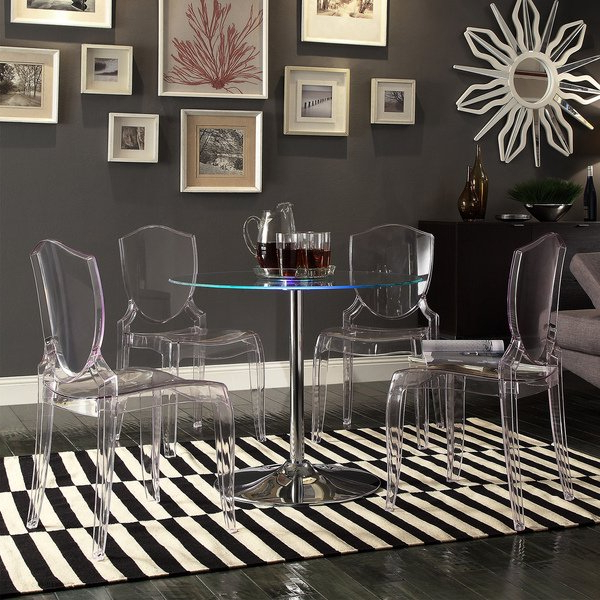 Shop Lorin Led Round Crystal Clear 5 Piece Dining Setinspire Q Regarding 2017 Crystal Dining Tables (Gallery 15 of 20)