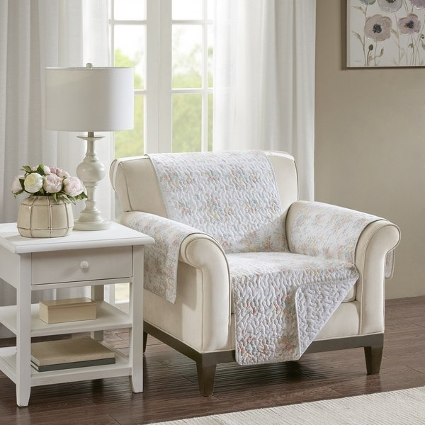 Shop Madison Park Harmony Coral Quilted Reversible Cotton Printed Regarding Recent Cora Ii Arm Chairs (View 20 of 20)
