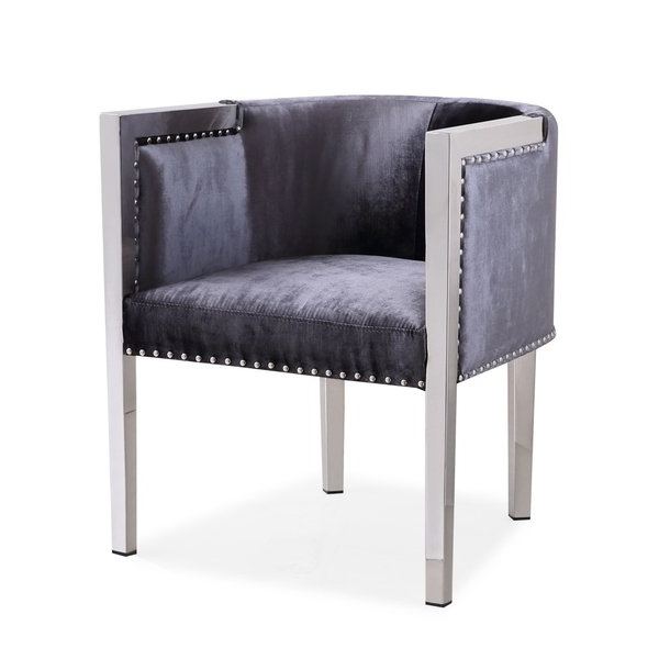 Shop Modern Julio Velvet Upholstered Metal Living Room Accent Chair Pertaining To 2018 Walden Upholstered Arm Chairs (View 16 of 20)