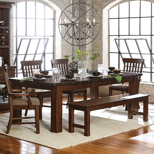 Shop Norwood Antique Oak Finish Extending Table Dining Set – Free Pertaining To Fashionable Norwood 9 Piece Rectangle Extension Dining Sets (View 14 of 20)
