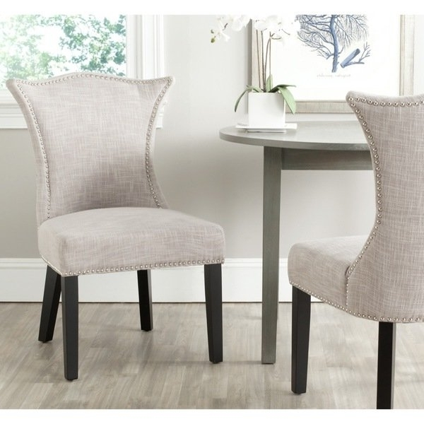 Shop Safavieh En Vogue Dining Ciara Grey Dining Chairs (set Of 2 In Fashionable Caira Black 7 Piece Dining Sets With Upholstered Side Chairs (View 5 of 20)