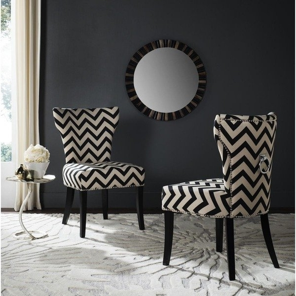 Shop Safavieh En Vogue Dining Jappic Chevron Black/white Ring Dining For Popular Caira Black Upholstered Side Chairs (View 19 of 20)