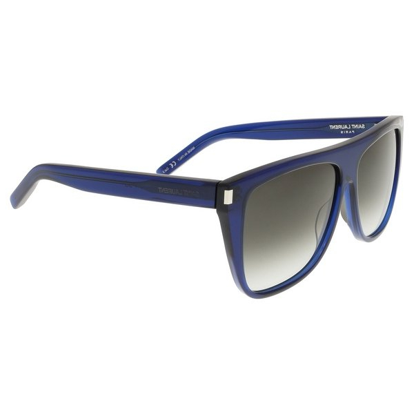 Shop Saint Laurent Sl 1 005 Dark Navy Flat Top Rectangle Sunglasses For Popular Laurent Rectangle Dining Tables (View 20 of 20)