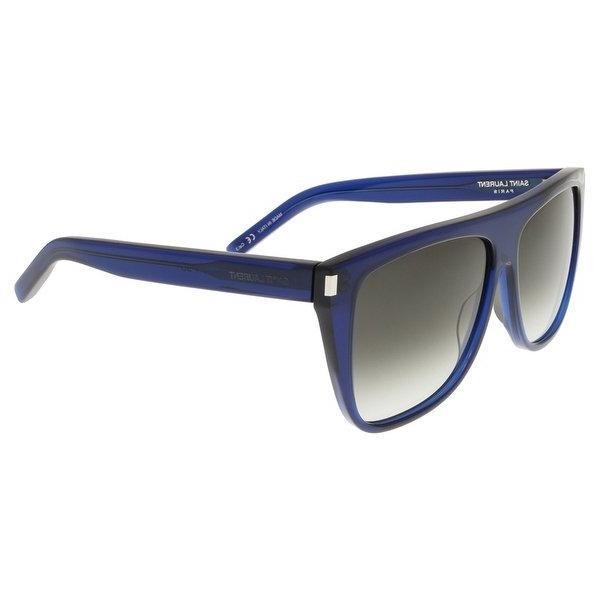 Shop Saint Laurent Sl 1 005 Dark Navy Flat Top Rectangle Sunglasses For Popular Laurent Rectangle Dining Tables (View 13 of 20)