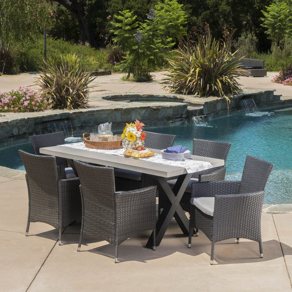 Shop Sanibel Outdoor Light Weight Concrete 7 Piece Rectangle Dining With Regard To Famous Crawford 7 Piece Rectangle Dining Sets (View 12 of 20)